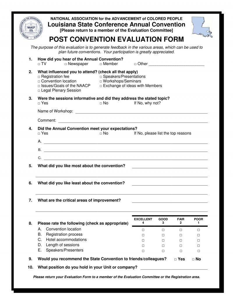 NAACP Louisiana State Conference Post Convention Evaluation Form – Seminar Evaluation Form